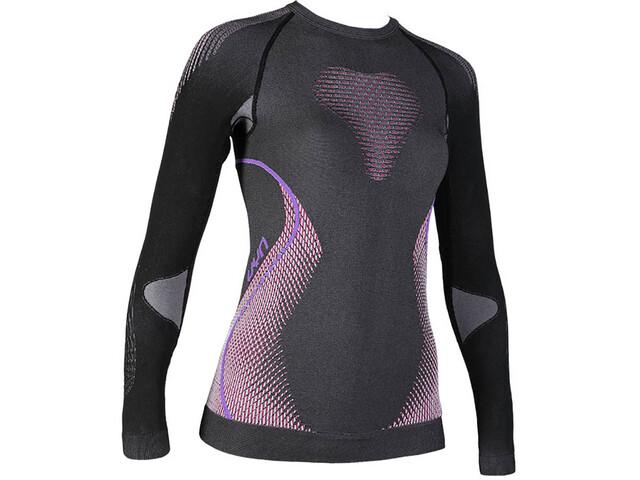 UYN Evolutyon Melange UW LS Shirt Dam anthracite melange/raspberry/purple